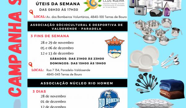 CLDS 4GEIRA, Associação Sociocultural e Desportiva de Valdosende - Paradela e Associação Núcleo Rio Homem desenvolvem Campanha de Recolha de Bens