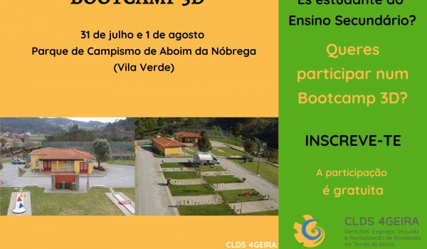 Atividade Bootcamp 3D (Ambiente, Social e Sustentável) decorre de 31 de julho e 01 de agosto